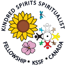 Small Kindred Spirits Spiritualist Fellowship logo. An image with the following inside a circle, a sunflower in upper left side is a small dragon, beneath this to the right is a group of stick people in a circle, on the bottom left is a wild rose.