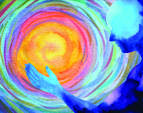 Swirl of colors on a painting with a silhouette of a blue man to the right.