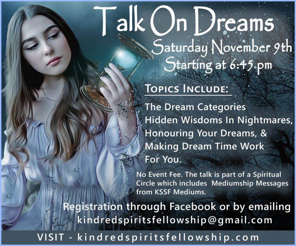 image of a girl holding a timer with stars coming out of it on a black background. The image says Talk On Dreams and gives the information stated on the page.