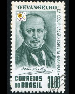 Black and white image of stamp from Brazil with sketch of Allan Kardec.