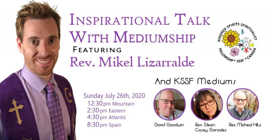 Event image banner which has a picture of Rev. Mikel Lizarralde in a purple tie and shirt. The banner also has small pictures of the other KSSF mediums working on the event, David Goodwin, Rev. Eileen Casey Gonzalez, and Rev. Michael Hilz.