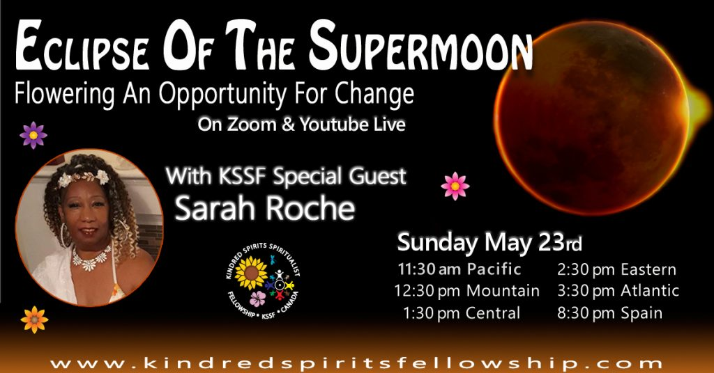 image with event title with a picture of an eclipse of a moon and Sarah Roche